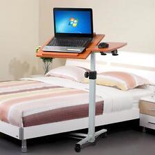 Mobile Rolling Adjustable Wood Overbed Laptop Computer Table Desk Stand Castors