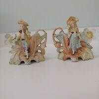 Pair Antique Porcelain Table Planters- Figural