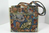 Tapestry Teddy Bear and Cat Shoulder Bag Zippered Tote Handbag + Coin Purse