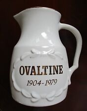 Ovaltine ~ 75th Anniversary Pitcher ~ Trimmed in 24k Gold ~ Excellent Condition