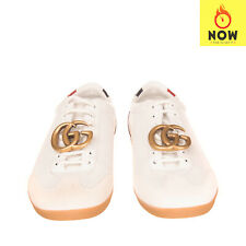 RRP €745 GUCCI Leather Sneakers Size 41 UK 7 US 7.5 Metal GG Logo Made in Italy