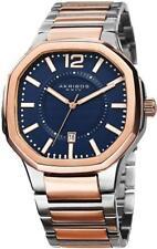 Akribos XXIV AK712TTR Date Quartz Blue Dial Rosetone Silvertone Mens Watch