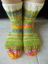 Hand knitted wool blend socks, gradient light green tones with yellow trim