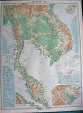 1922 LARGE ANTIQUE MAP- FARTHER INDIA, SINGAPORE,ANDAMAN,NICOBAR,