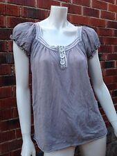 BNWT grey knit top STELLA sizeS linen cotton rockabilly vintage retro 50s RRP$99