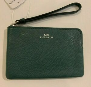 COACH CORNER ZIP WRISTLET /wallet dark turquoise, snake leather,$78.00