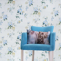 floral Wallpaper rolls blue flowers rustic white cream Textured faux textile 3D
