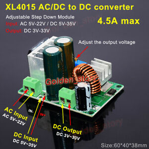 XL4015 AC/DC to DC Buck Step Down Converter 3.3V 5V 9V 12V 24V Rectifier Filter