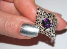 VINTAGE SIGNED 925 NF MARCASITES AND AMETHYST WOMANS RING SILVER BAND SIZE 5.75