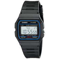 Casio F91W-1 Classic Black Digital Resin Strap Sport Watch Water Resistant NIB