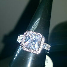 SILVER RING WITH CREATED PRINCESS CUT WHITE SAPPHIRE + STONES ON BAND SIZE P