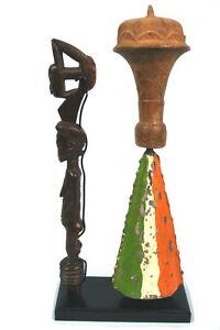 Art Africain - Marteau & Cloche Rituels - Avec Socle sur Mesure - Taille XL +++