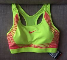 NEW Nike Pro Hyper Classic Padded Sports Bra Yellow Volt Hyper Pink Size S 8 10