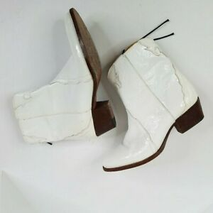 """Free People Womens Cowboy Boots Size 39 US 8 1/2 White Ankle Western 2"""" Heel"""