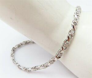 "14K White Gold Diamond Accent X Link Tennis Bracelet 7"""