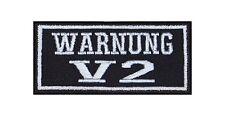 Warnung V 2 Patch Aufnäher Badge Biker Heavy Rocker Bügelbild Kutte Motorrad
