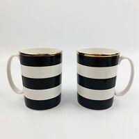 KATE SPADE Lenox Everdone Lane Set Of 2 Coffee Mugs Cup Black Gold Striped
