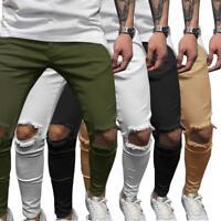 Men's Skinny Slim Fit Jeans Ripped Denim Punk Knee Destroyed Hole Pants new