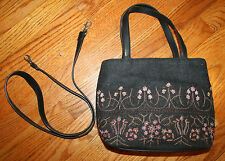 VTG Wool Embroiderd FOSSIL Purse Convertible Hand Bag Shoulder Bag CHARCOAL