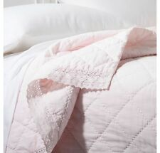 New Simply Shabby Chic Linen Blend Pink Crochet Lace Trim Quilt - Twin