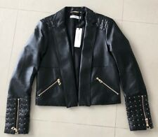 BNWT Versace BLACK Studded Womens Leather Crop Jacket! Size 42/US 4-6! SUPER HOT