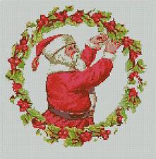 "Santa Wreath Christmas Cross Stitch Kit 10"" x 10.25"" 25.6cm x 25.9cm C2230"