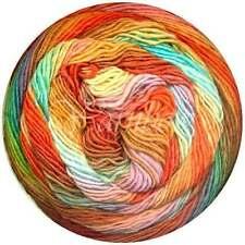 Lang Yarns ::Mille Color Sock & Lace #54:: yarn Orange-Yellow-Nut-Aqua-Lilac