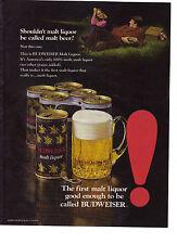 1972 Budweiser Anheuser Busch America's Only 100% Malt Liquor Beer Print Ad