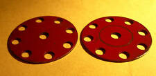 Two red Meccano obsolete Discs, part 217a