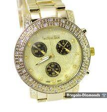 mens big gold tone hip hop CZ ice out bling dial watch link bracelet man