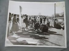 Vintage B&W Victoria B.C. Newspaper Photo Accident Man on Stretcher Onlookers