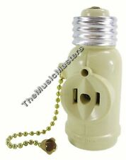 Lamp Socket Converter with 2 AC Outlets + Bulb Holder & Pull Chain Switch IVORY
