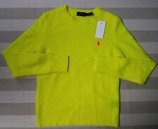 NWT S Women's Ralph Lauren Polo Optic Yellow Wool Cashmere Crewneck Sweater $198