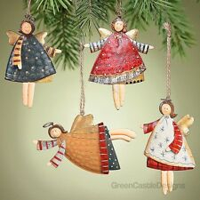 Angel Christmas Tree Ornaments 12 Metal Tin Holiday Rustic Primitive Decor Gift