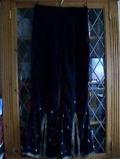 Noir Crêpe Bijoux Soirée Pantalon UK8 ** GC **