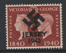 GB Jersey (278) 1940 Swastika Overprint forgey om genuine 1.5d Centenary u/m