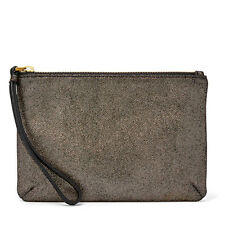 NEW Fossil Keely Wristlet Pewter SL7214044 Leather NWT Wallet, Hand Purse Cute!