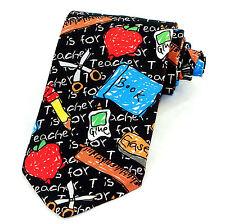 Ralph Marlin T For Teacher Men's Neck Tie Education School Gift Black Necktie