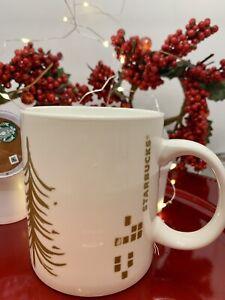 Starbucks Holiday Gold Christmas Tree Coffee Mug 12oz 2014 Collection