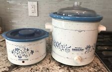 2 Vintage Rival Crock Pot Lid Model 3120 2.5 Qt &1 Qt Crockette Blue Flowers