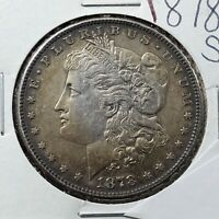 1878 S Morgan Silver Eagle Dollar Coin Average AU About UNC Neat Toning Toner
