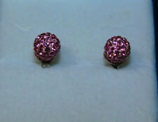 Sterling Czech Bohemia Swarovski Element Pink Pave Shamballa Ball Stud  Earrings