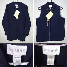 Sport Savvy 2 Pc Sweater Zip Jacket Medium & Zip Up Vest Small Navy Blue New QVC