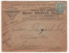 LETTRE PUBLICITAIRE HENRI BERGE CARCASSONNE / BRAM 1923 FABRIQUE DE BLOUSE