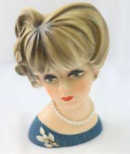 Vintage Napcoware Lady head Vase C-7472 Blonde Hair Blue Dress