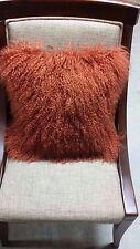 Handmade Mongolian Fur 16x16 Square Rust/Clay Pillow Cushion Case & fabric backn