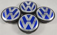 4x 56MM Blue VW Volkswagen Wheel Center Rim Caps Jetta Golf Beetle #1J0601171