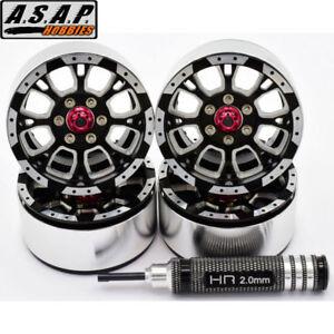 Hot Racing Aluminum Billet 1.9 Beadlock Wheels w/ 12mm Hex (C-Style) (4)