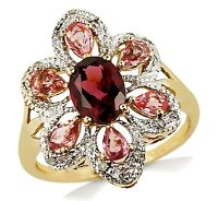 Women's Solid 10k Yellow & White Gold Tourmaline & Topaz Cocktail Ring
