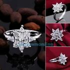 New 925 Sterling Silver Plated Jewelry Crystal Zircon Flower Women Ring Size 7-8